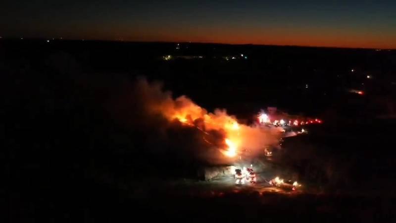 Fire blazes outside Huntersville mulch supply facility