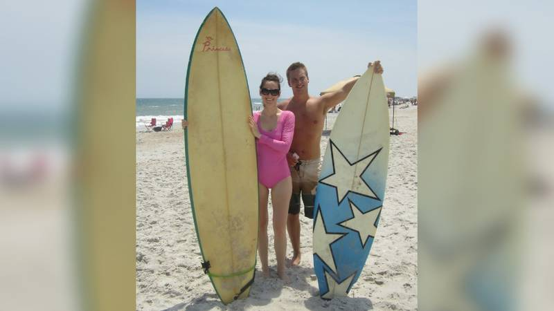 The surfboard was homemade and somewhere close to a 6-footer. The design is obvious: White and...
