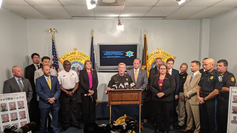 Sheriff Leon Lott holds a press conference to discuss internet crimes against children and...