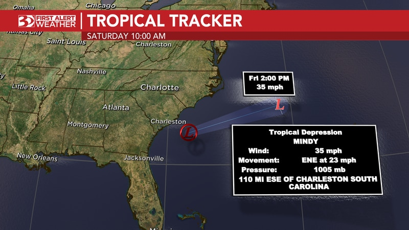 Mindy is about 100 miles to the east-southeast of Charleston, SC, and will continue to move...