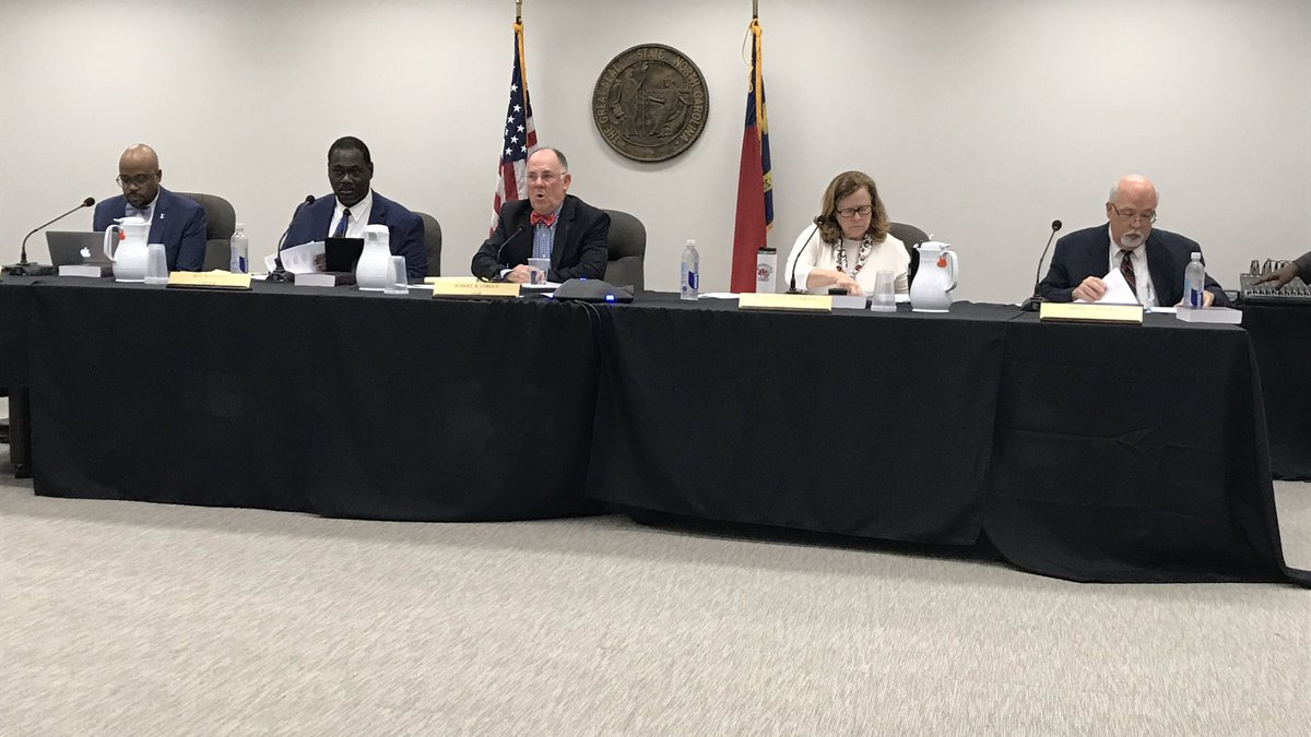Members of the newly-appointed NCSBE hold their first in-person meeting in Raleigh ahead of the...