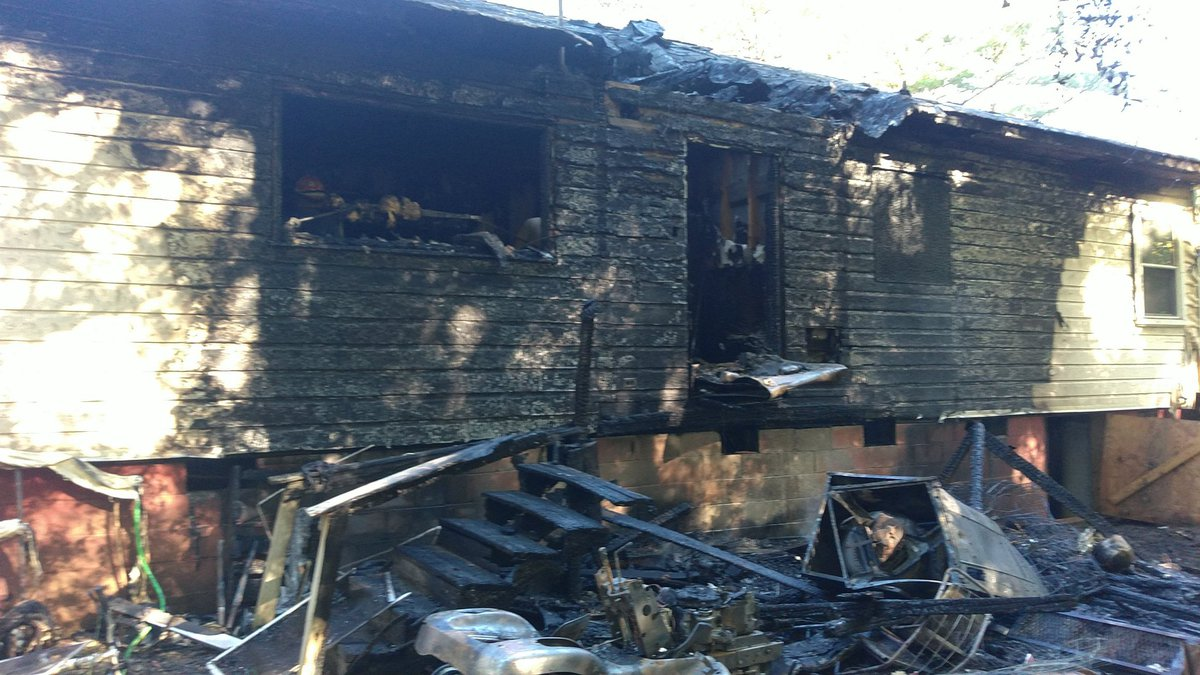 The home in the 7100 block of Stokes Ferry Road was heavily damaged.