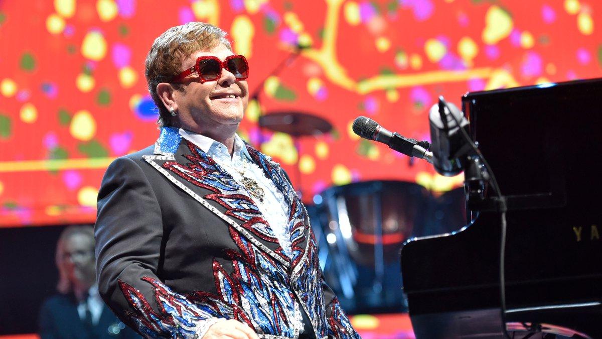 Elton John performs during his Elton John Farewell Yellow Brick Road tour in Rosemont, Ill. on...