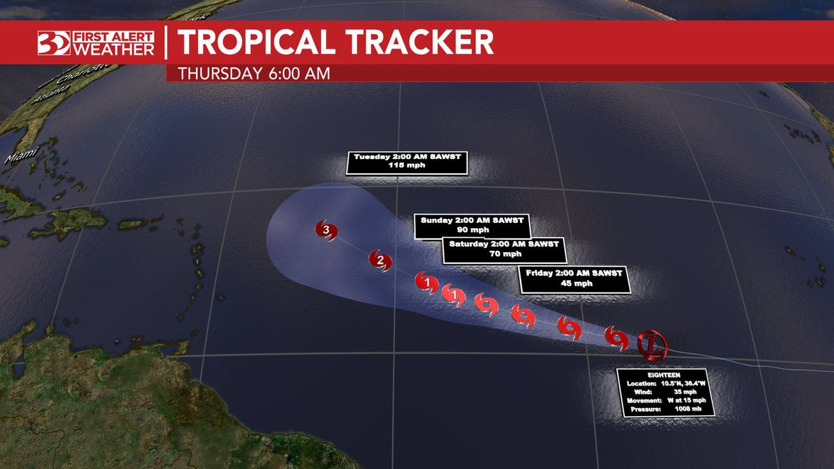 Tropical Depression 18 is forecast to be a major hurricane next week.