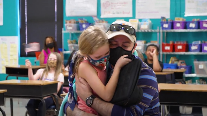 A master sergeant with the U.S. Air Force surprised his daughter at her Rock Hill elementary...