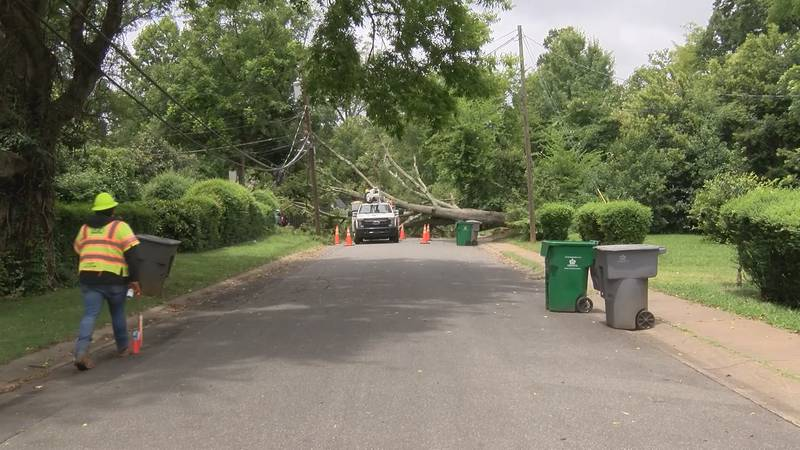 Duke Energy crews responded to several power outages Thursday as Tropical Storm Elsa blew...
