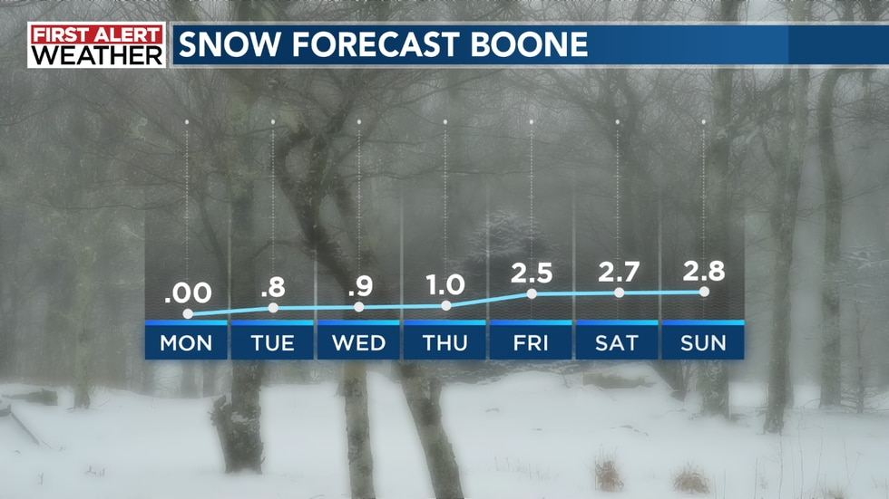 This is the GFS snow forecast  for Boone