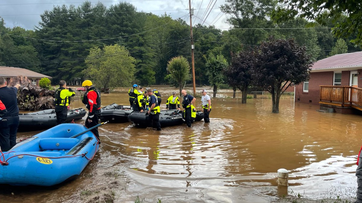 In this image provided by New Hanover County Fire Rescue, members of North Carolina's Task...