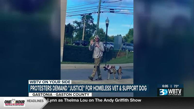 Protesters demand justice for homeless veteran and support dog