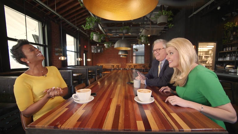 Christine Sperow, John Carter, and Mary King sit down over coffee