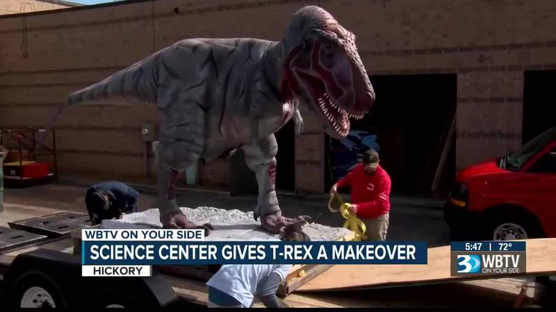 A massive T-Rex, the King of the Dinosaurs, was strapped to a trailer and driven through the...