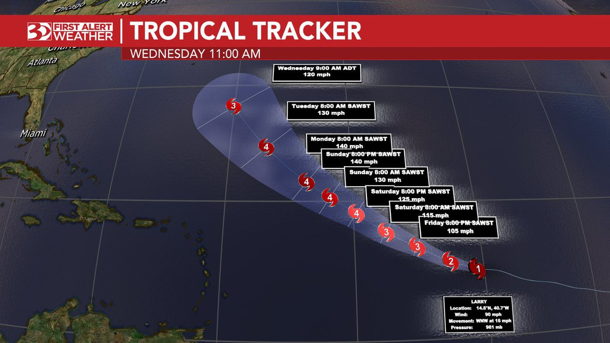 Hurricane Larry is now strengthening in the southern Atlantic Ocean.