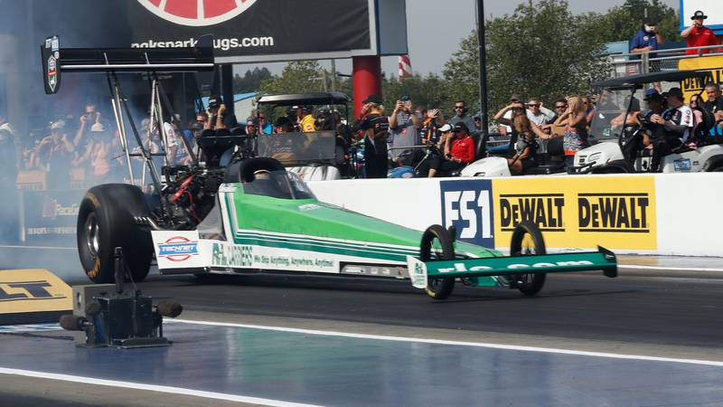 Part-time NHRA Top Fuel driver Josh Hart knocked off No. 1 qualifier Brittany Force to win the...