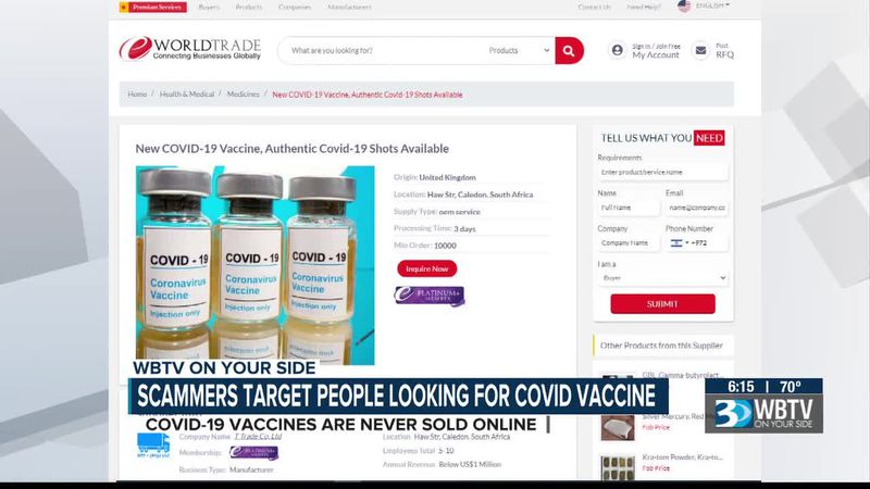Scammers target people looking for COVID-19 vaccine