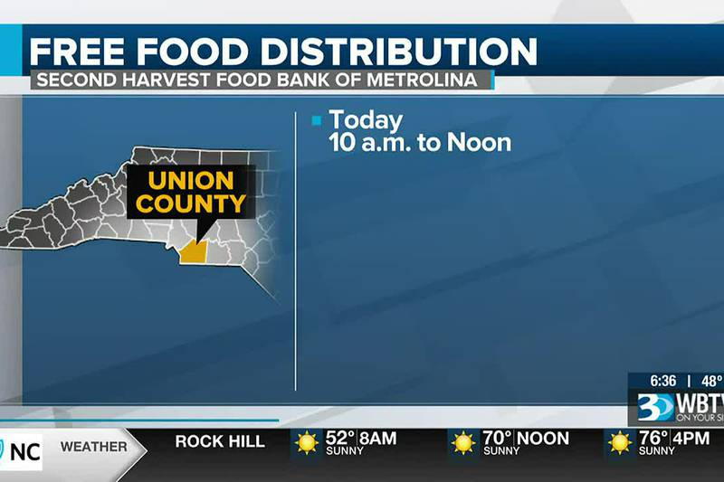 Free food distribution happening Friday in Union County