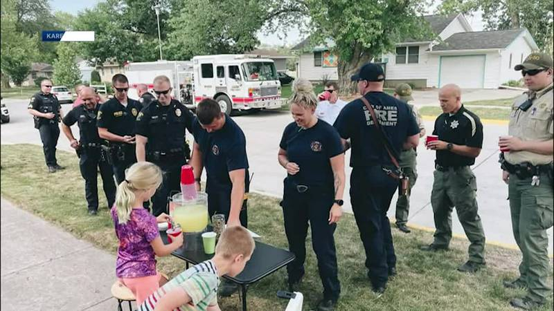 Four different law enforcement agencies showed up when the twins reopened their stand, helping...