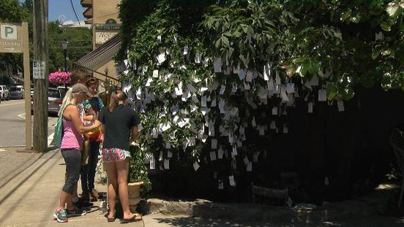Her store has since turned to paper tags to save the tree from the weight of the thousands of...