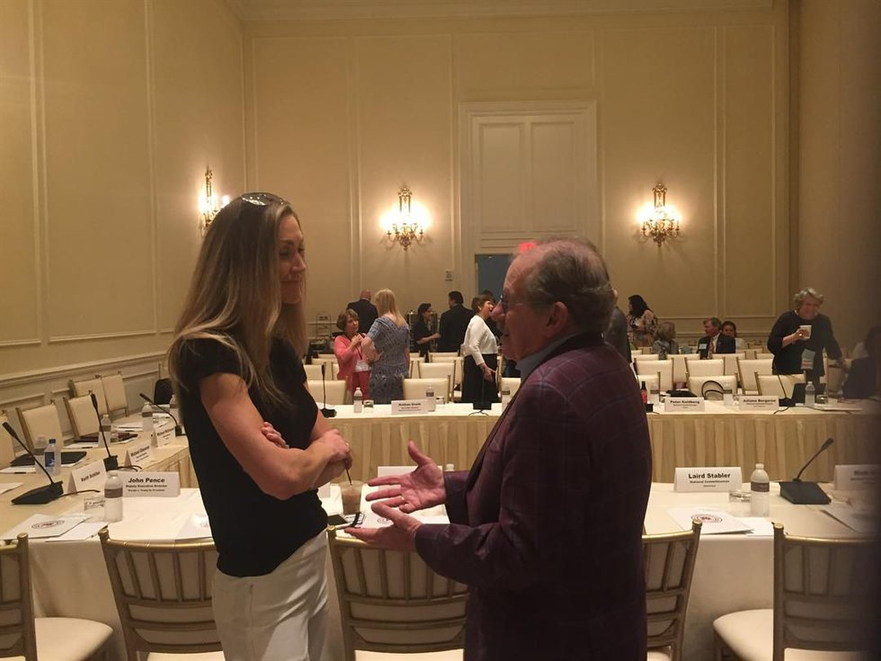 North Carolina native Laura Trump speaks with Chair of RNC site selection committee Ron Kaufman...