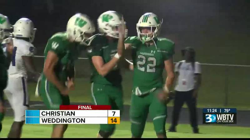 What a battle between Charlotte Christian and Weddington as the Warriors would pull out a 14-7...