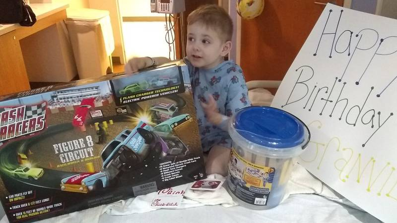 Granville Whitener celebrated his fourth birthday at Levine Children's Hospital.