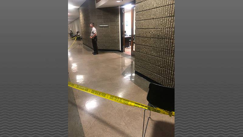 Blood is being cleaned from a room in the Hall of Justice after two attorneys got into a fight....