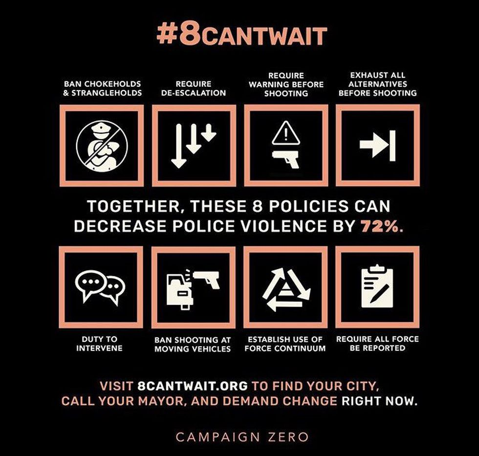 """The #8cantwait"""" movement is a push to get police departments to adopt policies banning the use..."""