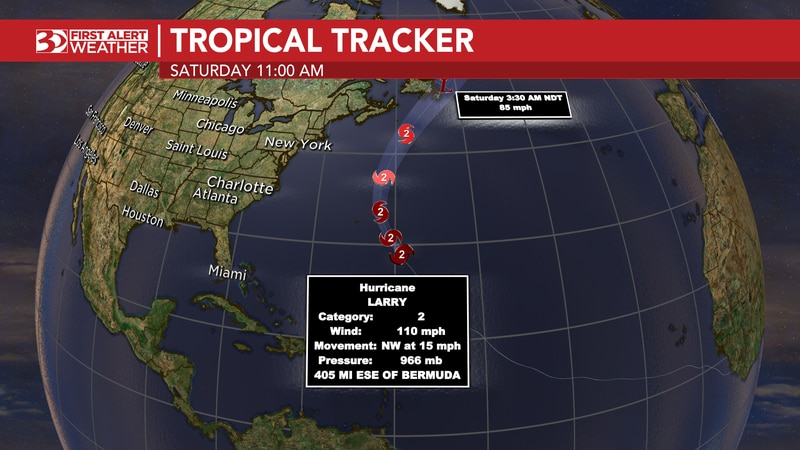 Tropical Storm Mindy forms near Florida, and Hurricane Larry approaches Bermuda