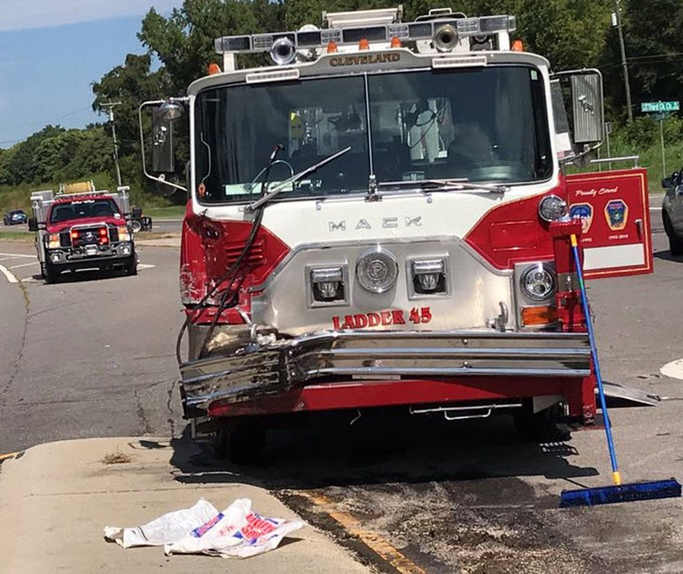 A Cleveland Fire Department fire truck was involved in an accident on Highway 70 while...