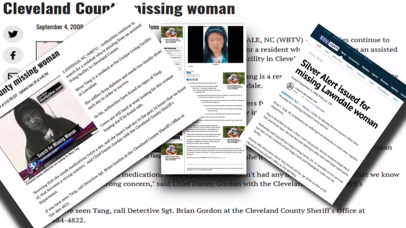 A collection of articles about Mouy Tang's disappearance in 2008 and the discovery of her...