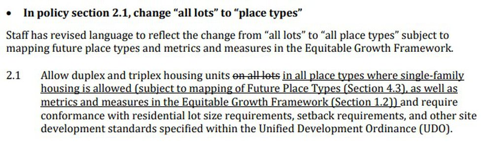 Policy 2.1 would remove single-family only zoning from the City of Charlotte.