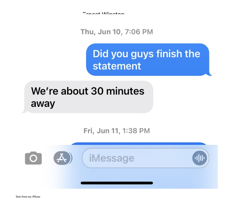 A screenshot of a text message exchange provided to WBTV.