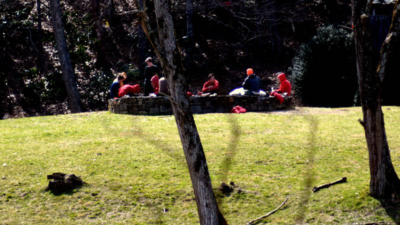 A group of campers are seen outside during a Trails Carolina program.