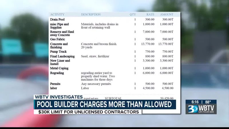 Pool builder charges more than allowed