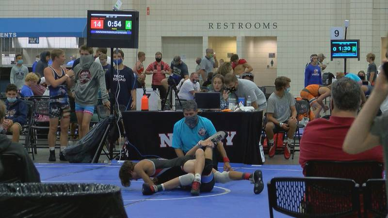 Wrestlers from around the country compete at the Myrtle Beach convention center while the...