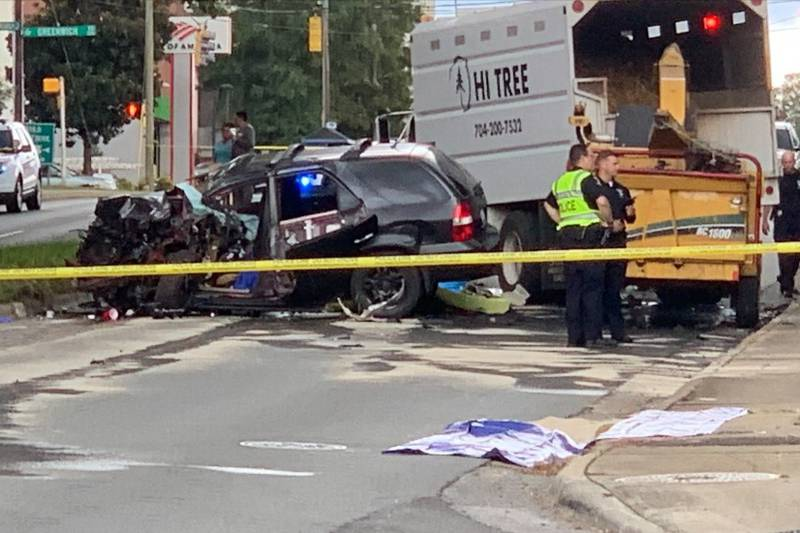The crash happened on Randolph Road in the Cotswold area of Charlotte, around 2:39 p.m.