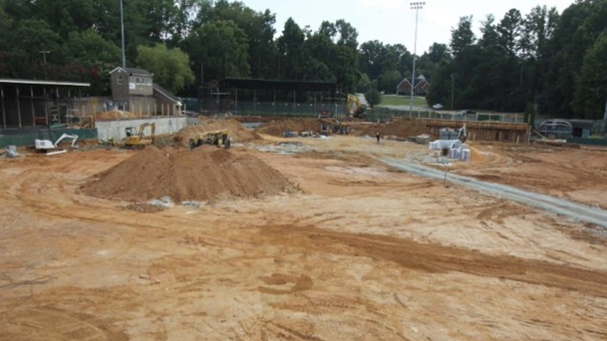 During preparation to install the new turf and replace the dugouts, Catawba's general...