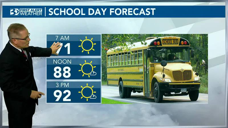 Bus Stop Forecast has highs in the 90s by end of the day