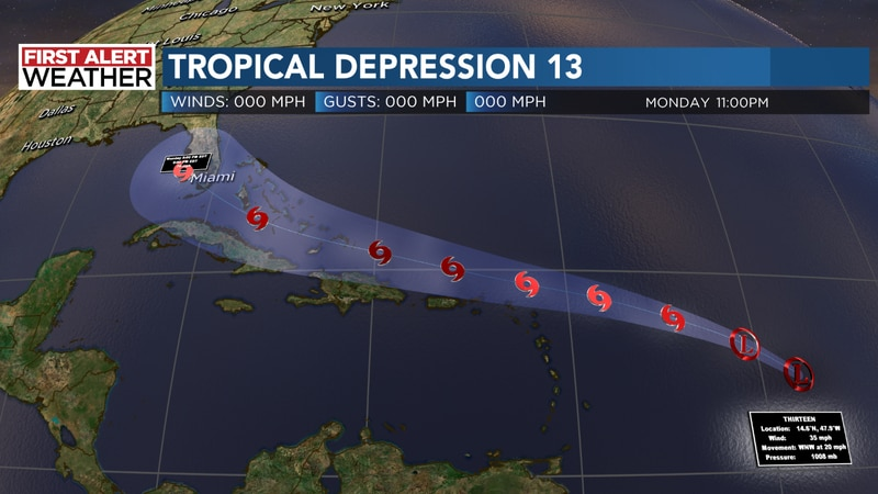 Tropical Depression 13 formed Wednesday night about 850 miles east of the Windward Islands in...