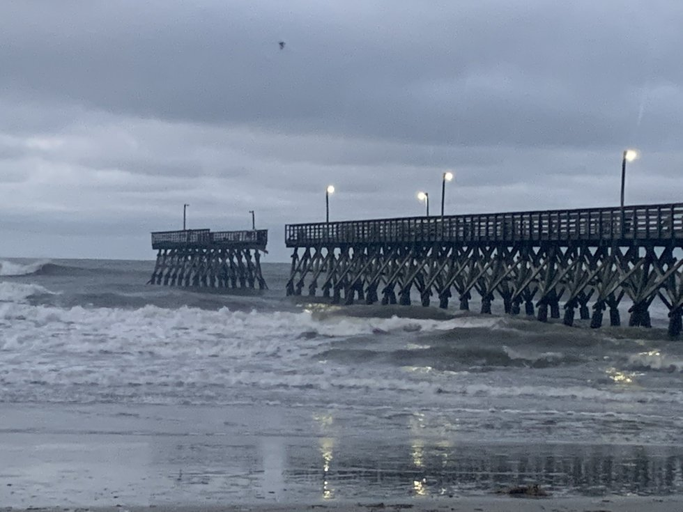 The Sea Cabin Pier in the Cherry Grove area sustained significant damage Monday night as...