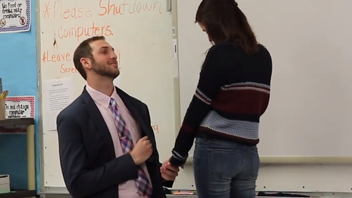 Nate Pierre took a knee and asked his girlfriend to marry him in the third grade classroom they...