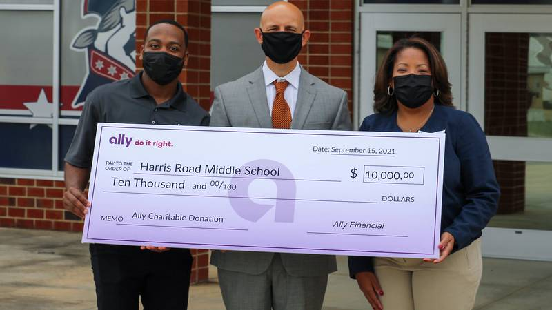 Harris Road Middle welcomed back Alumnus DeMari Tyner, who spoke to 8th-grade classes about...