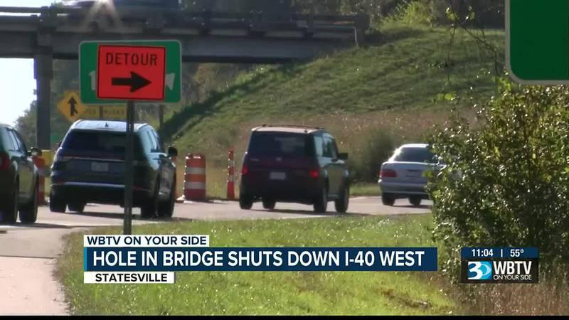 'It was backed up so bad': Large hole on I-40 overpass near Statesville creating traffic logjam