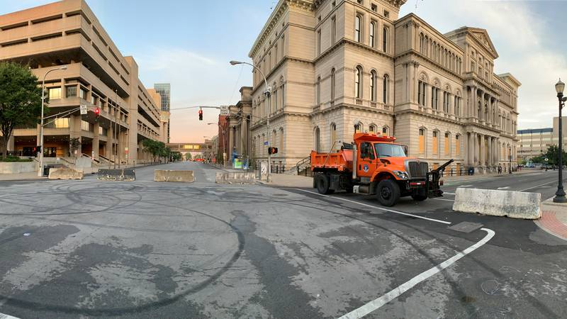 Barricades were set up in downtown Louisville Tuesday morning.