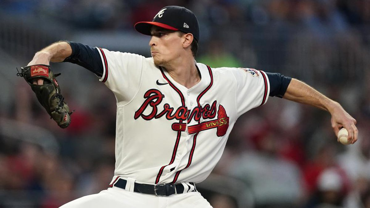Atlanta Braves starting pitcher Max Fried (54) works against the Philadelphia Phillies in the...