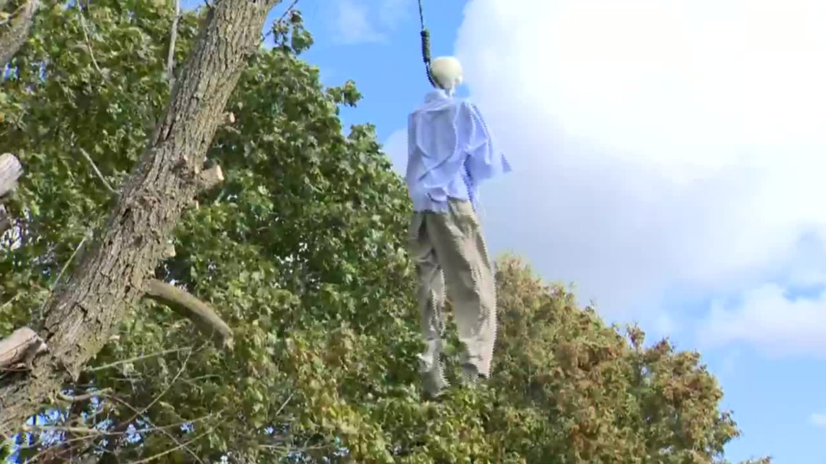 The decoration featured a skeleton hanging by a noose on a tree. Online comments said it...