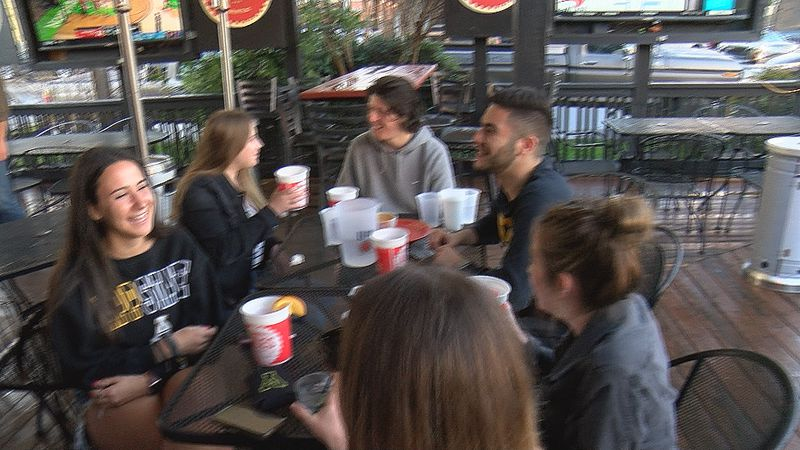 Dozens of Appalachian State Mountaineers fans gathered to watch Thursday night's basketball...