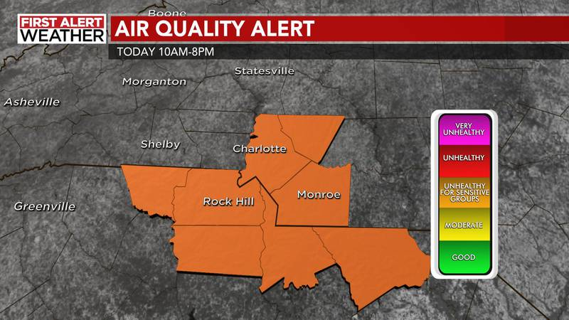 An Air Quality Alert is in effect Mecklenburg, Cabarrus, and Union counties in North Carolina...