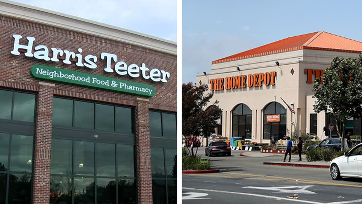 Shoppers are required to wear masks or face coverings inside Harris Teeter and Home Depot...