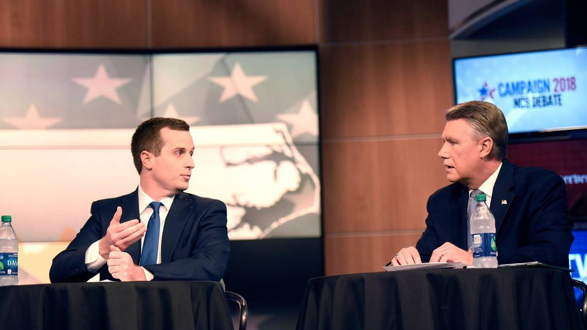 Ninth Congressional District candidates Dan McCready and Mark Harris take part in a WBTV and...