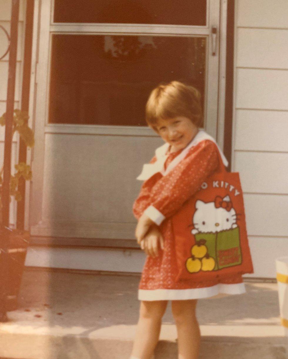Kristen Miranda sports her Hello Kitty school bookbag